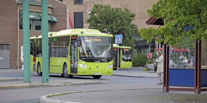 Nobina nye busser i Ski Sentrum i kjøring for Ruter