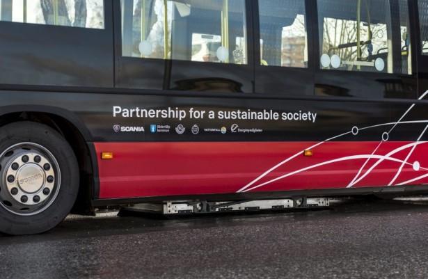 Scania Citywide Electric Hybrid sa induktivnim punjenjem. Sedertelje, Švedska