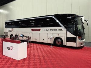Ein Setra S 417 TC auf der United Motorcoach Association (UMA) Expo 2018 in Texas.   A Setra S 417 TC at the United Motorcoach Association (UMA) Expo bus trade fair in Texas.