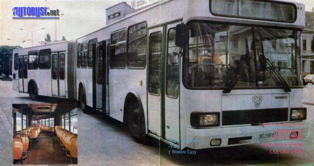 Nakon probe u Novom Sadu, ovaj zglobni autobus je prodat Autoprevozu iz Loznice © Dnevnik, 12. april 1989.
